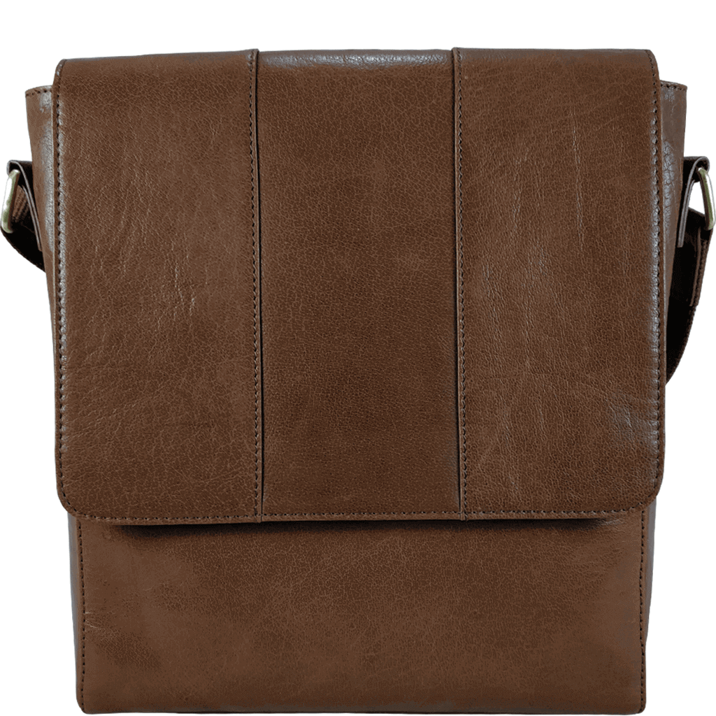 'LLOYD' - Tan Vintage Leather Tablet Shoulder Sling Bag