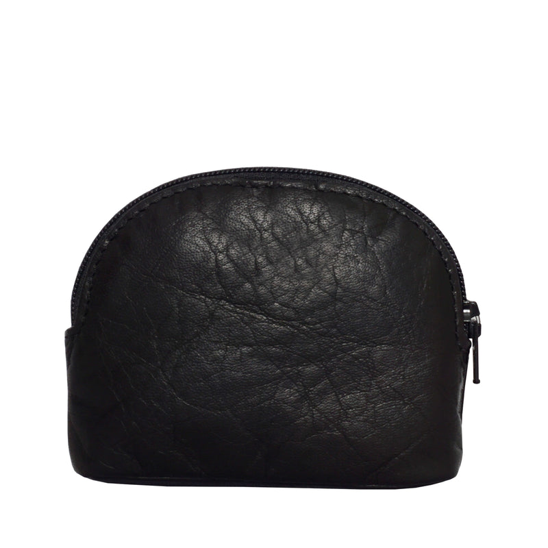 'LOTTY' Black Soft Small Leather Coin Pouch