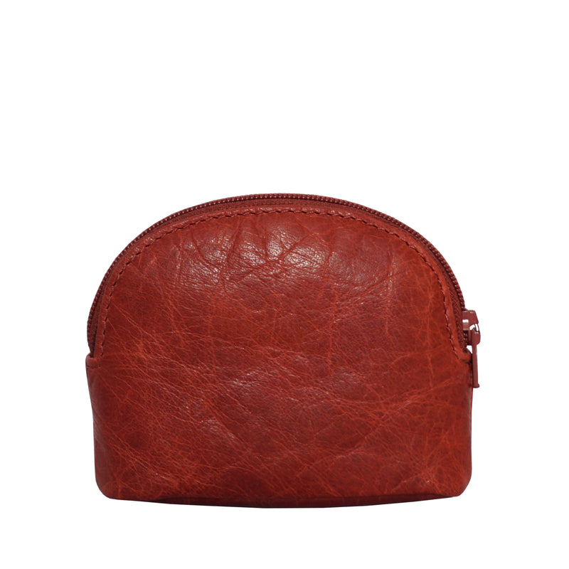 'LOTTY' Red Soft Small Leather Coin Pouch