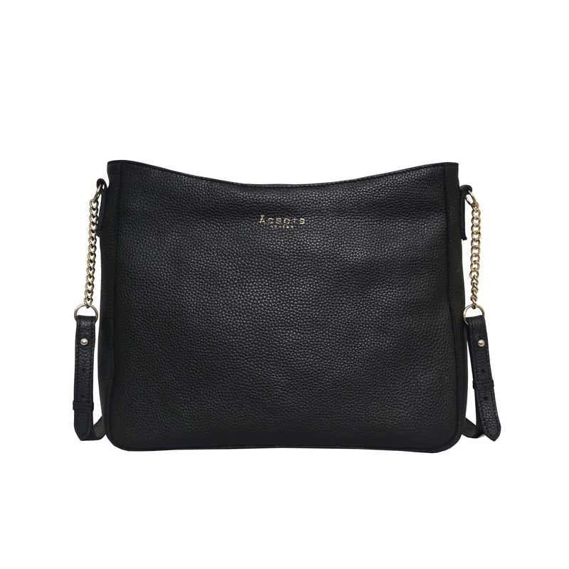 'LOUISA' Black Pebble Grain Leather Unlined Crossbody Bag
