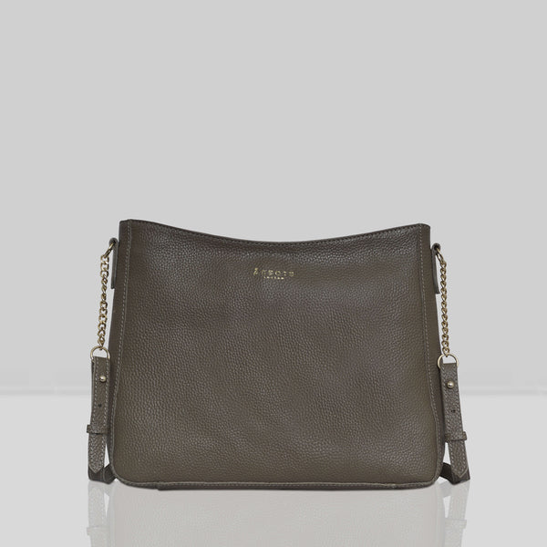 'LOUISA' Olive Green Pebble Grain Leather Unlined Crossbody Bag