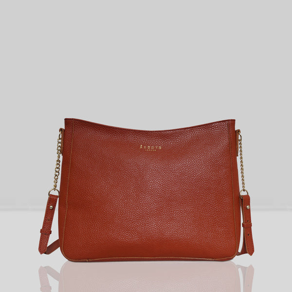 'LOUISA' Red Pebble Grain Leather Unlined Crossbody Bag