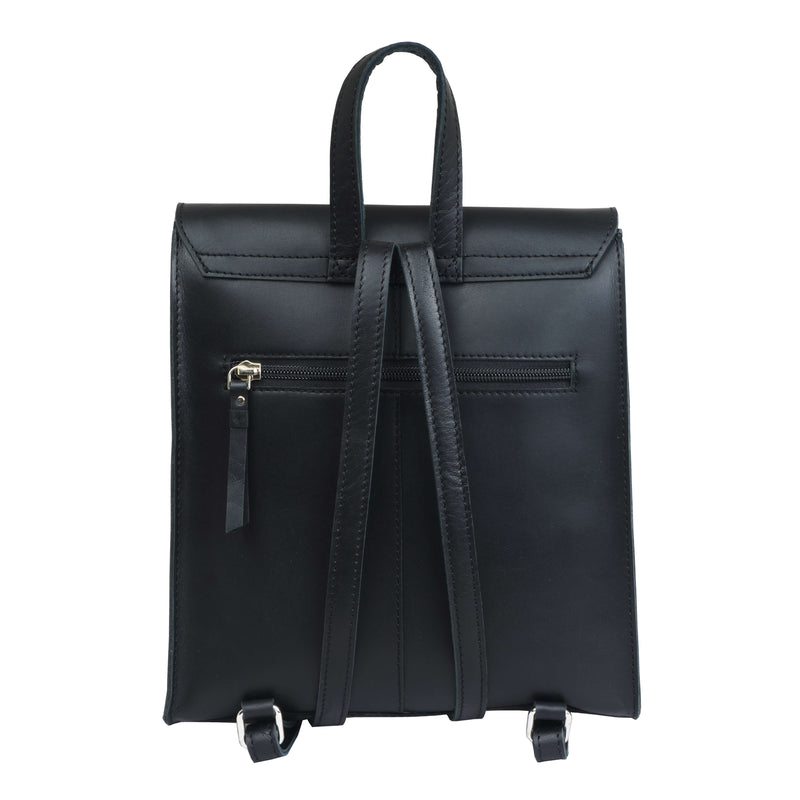 'MARGARET' Black Smooth Leather Flap Over Backpack