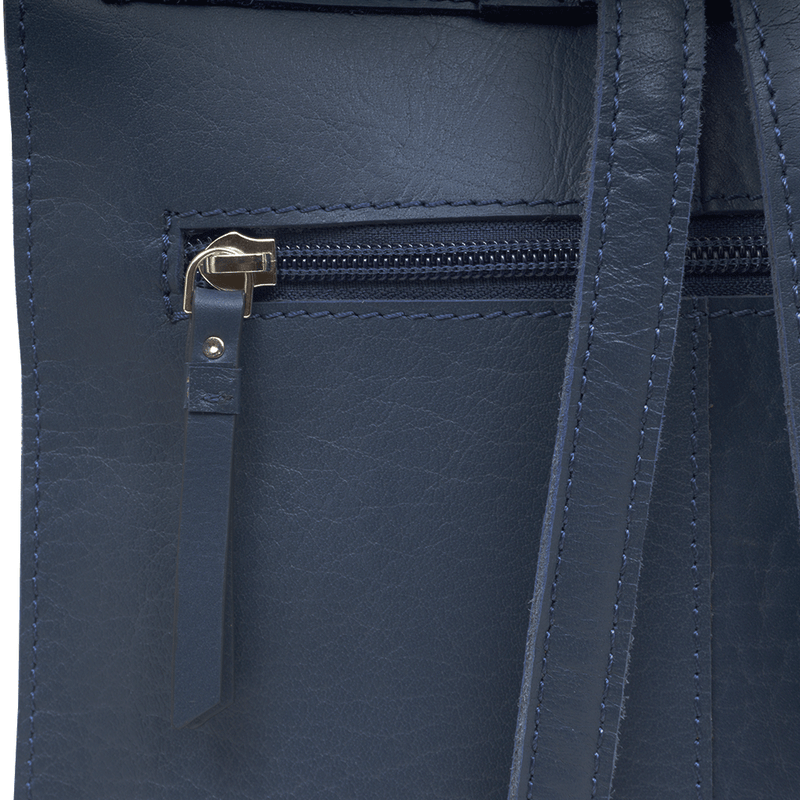 'Margaret' Blue Smooth Leather Flap Over Backpack
