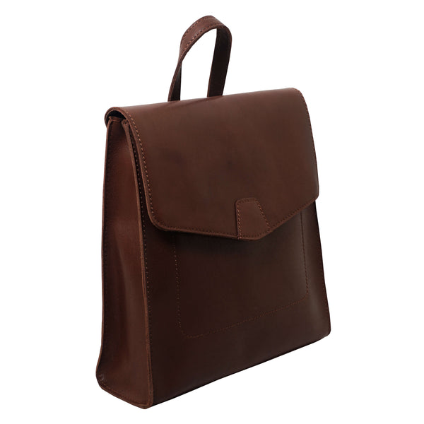 'Margaret' Chocolate Brown Leather Flap-over Backpack