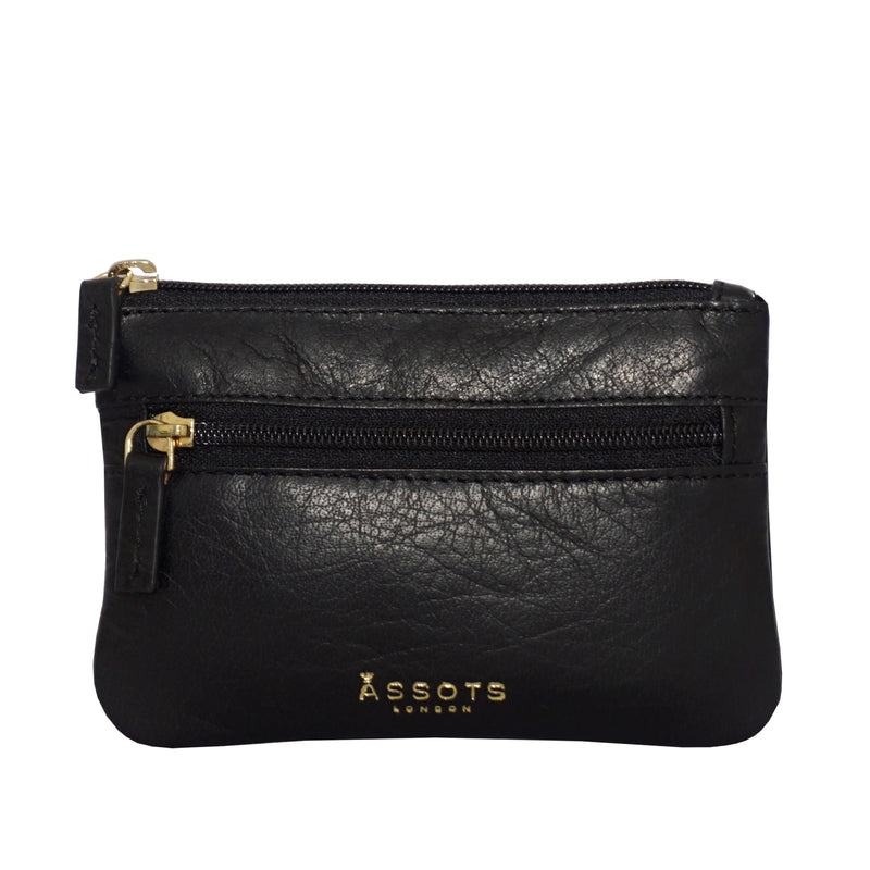 'MARY' Black Soft Small Leather Coin Purse