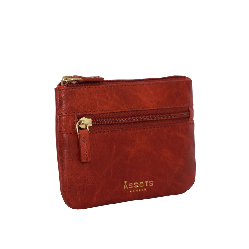 'MARY' Red Soft Small Leather Coin Purse