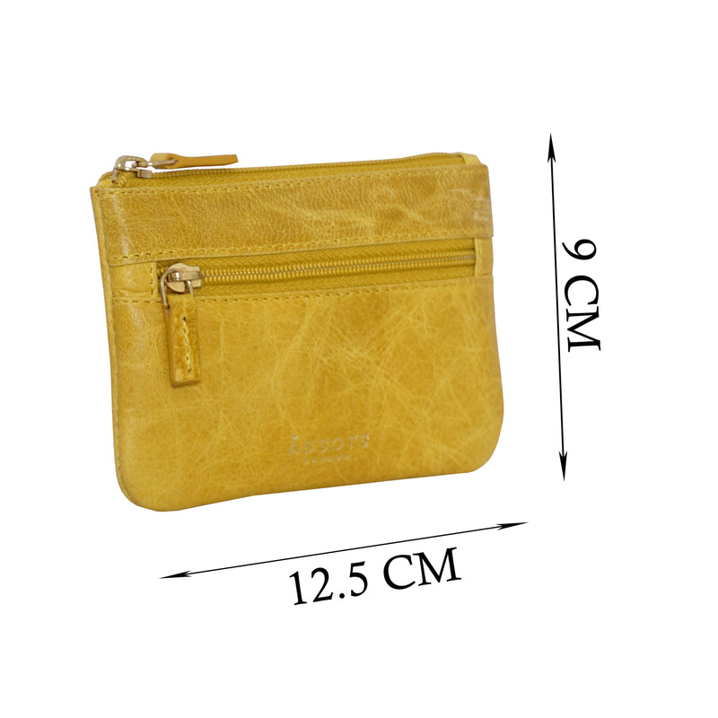 'MARY' Yellow Soft Small Leather Coin Purse