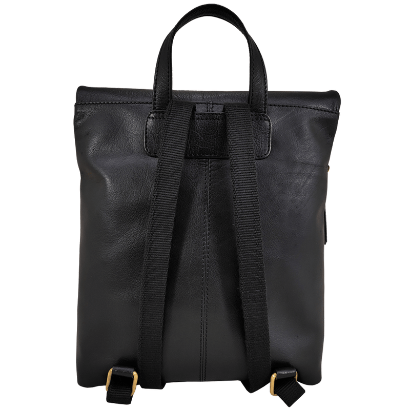 'MERLIN' - Black Full Grain Leather Zip Around Flap-over Backpack