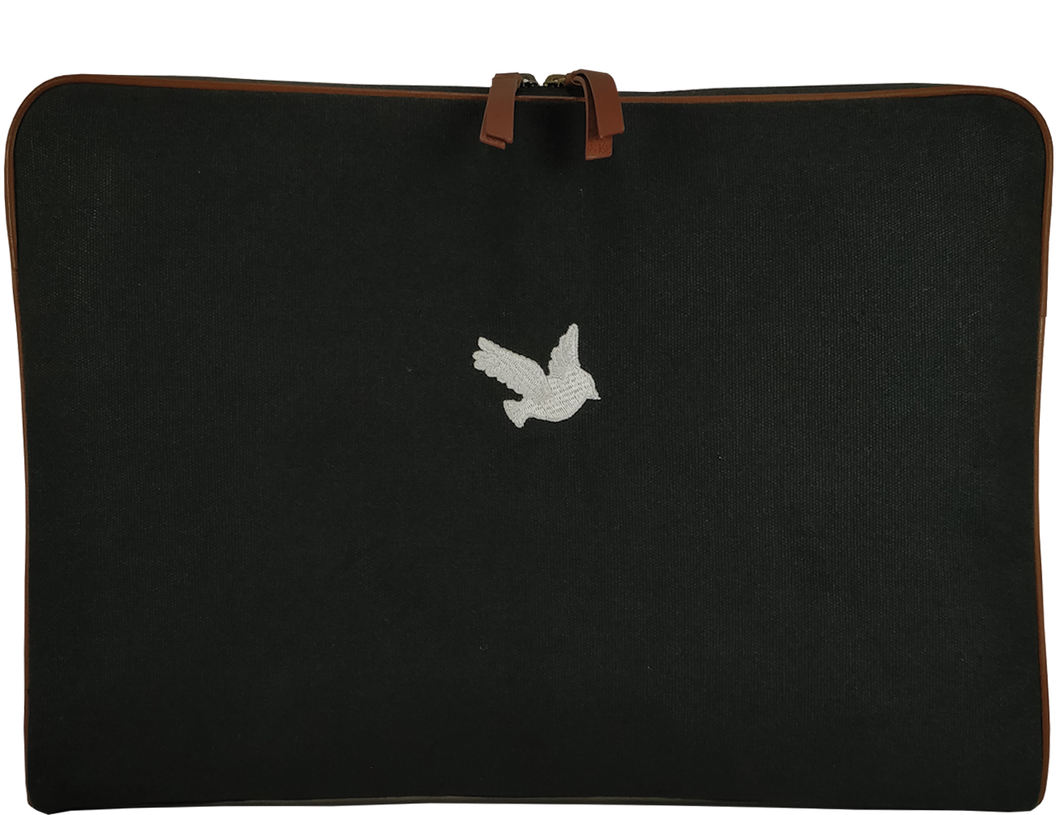 'MILE' - Black Canvas Laptop Bag