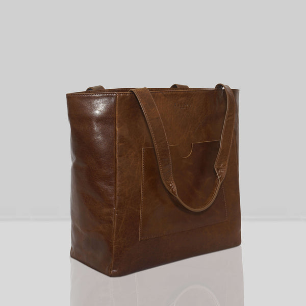 'NADIA' Tan Vintage Waxy Vegetable Tanned Large Leather Tote Bag