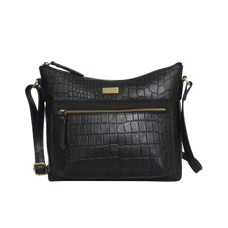 'OLGA' Black Croc Designer Leather Crossbody Shoulder Bag