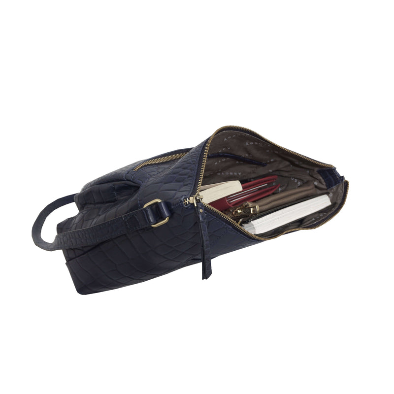 'OLGA' Navy Blue Croc Designer Leather Crossbody Shoulder Bag