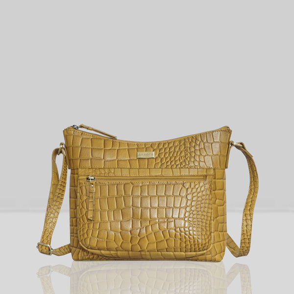 'OLGA' Mustard Ochre Croc Designer Leather Crossbody Shoulder Bag