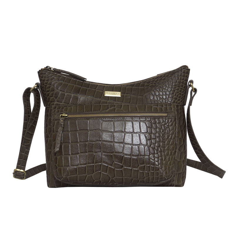 'OLGA' Olive Croc Designer Leather Crossbody Shoulder Bag