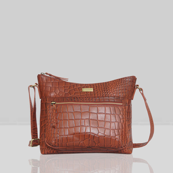 'OLGA' Red Croc Designer Leather Crossbody Shoulder Bag
