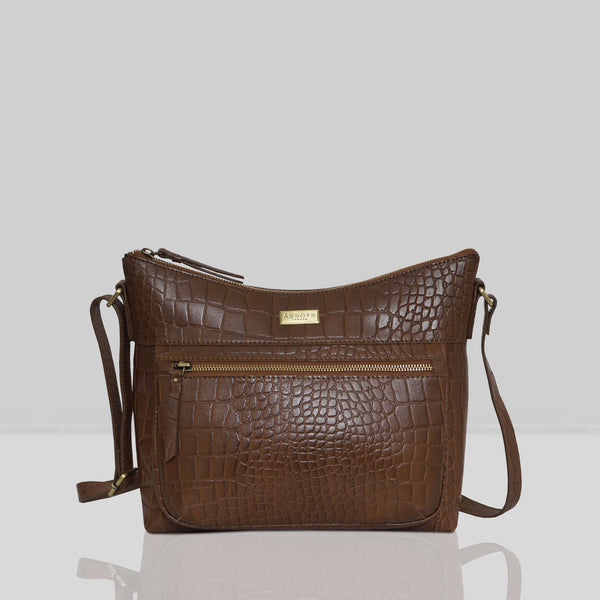 'OLGA' Tan Croc Designer Leather Crossbody Shoulder Bag