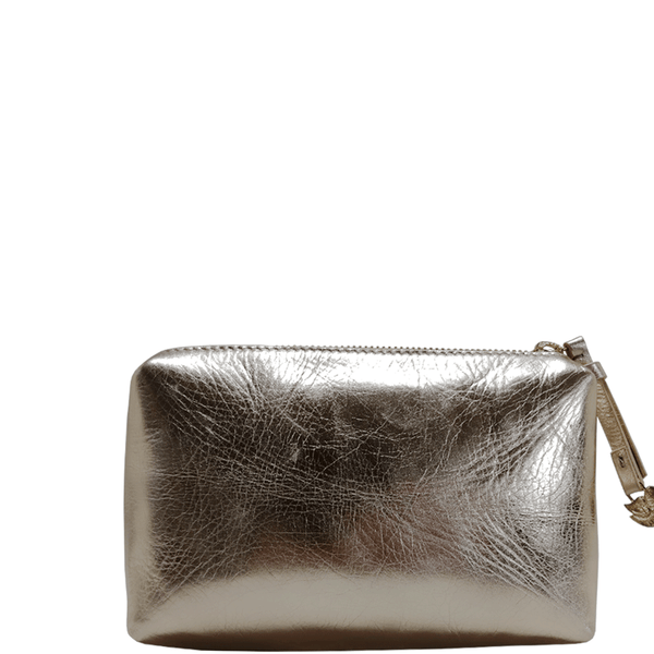 'OLIVIA' Rose Gold Metallic Leather Make up Bag