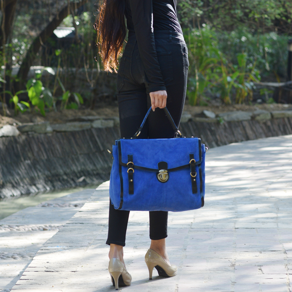 'QUINTON' Blue Designer Leather Suede Tab-over Satchel