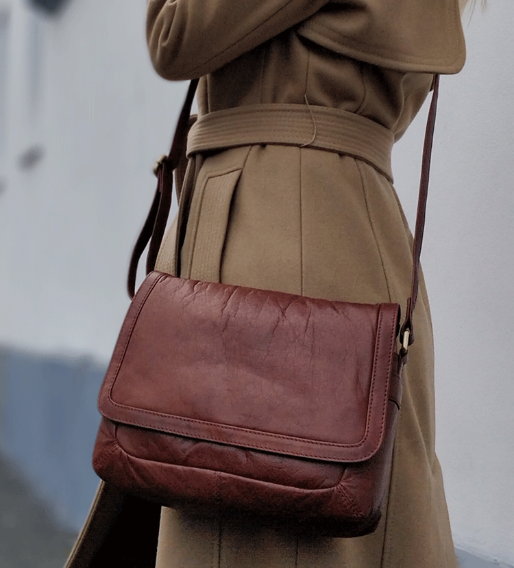 Tan Vintage Leather Crossbody Bag