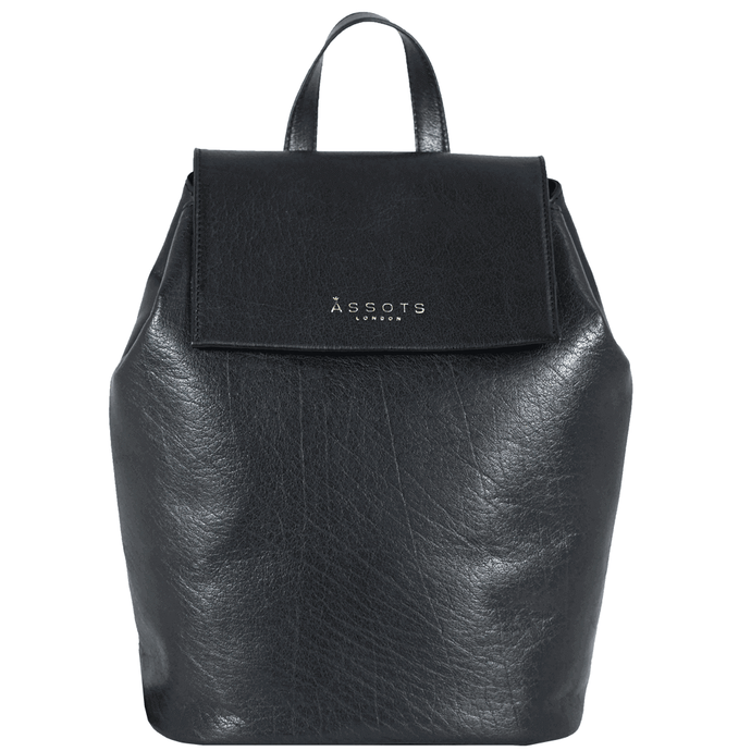 'JERMYN' - Classic Black Vintage Leather Flap-over Backpack