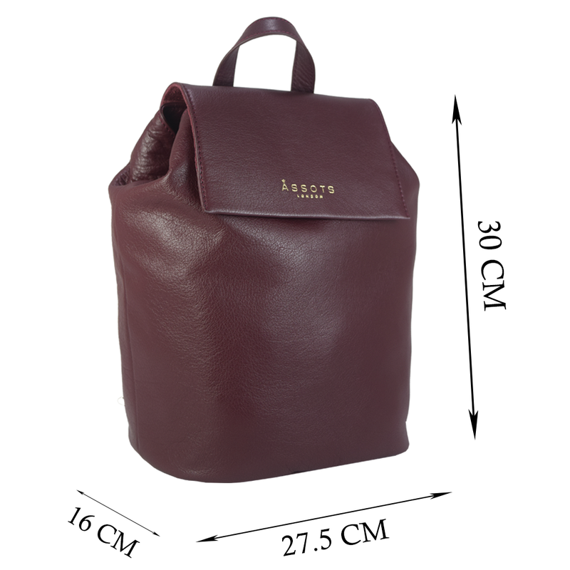 'JERMYN' - Classic Burgundy Full Grain Leather Flap-over Backpack