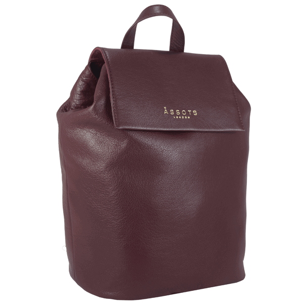 'JERMYN' - Classic Burgundy Full Grain Genuine Leather Flap-over Backpack
