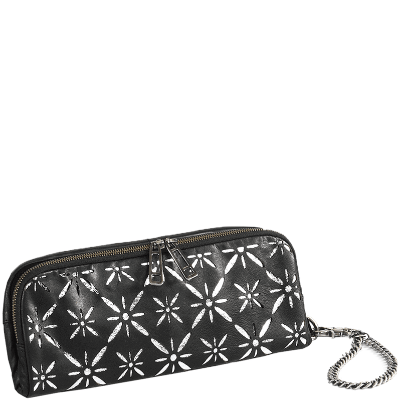 'HOLBORN' - Metallic Silver and Black Floral Designer Leather Evening Clutch Bag
