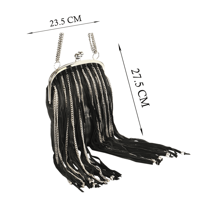 'CHINGFORD' Black Designer Leather Fringed Crossbody Bag