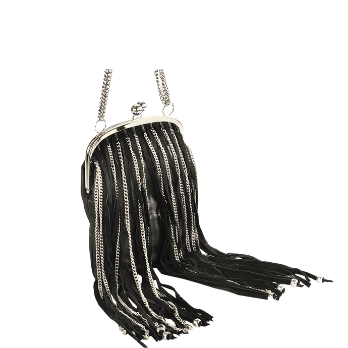 'CHINGFORD' - Black Designer Leather Fringed Shoulder Bag