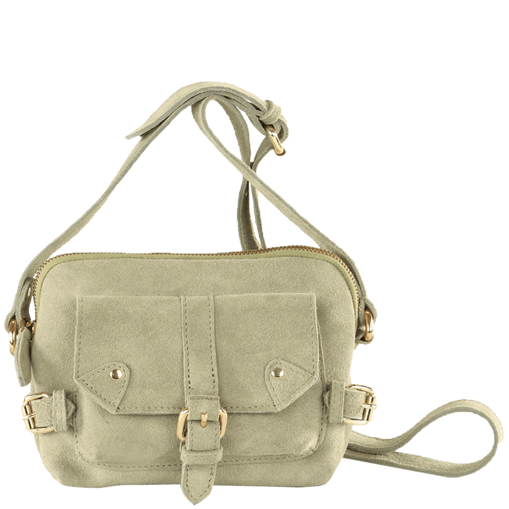 'SASHA' - Khaki Green Designer Leather Suede Cross Body Shoulder Bag
