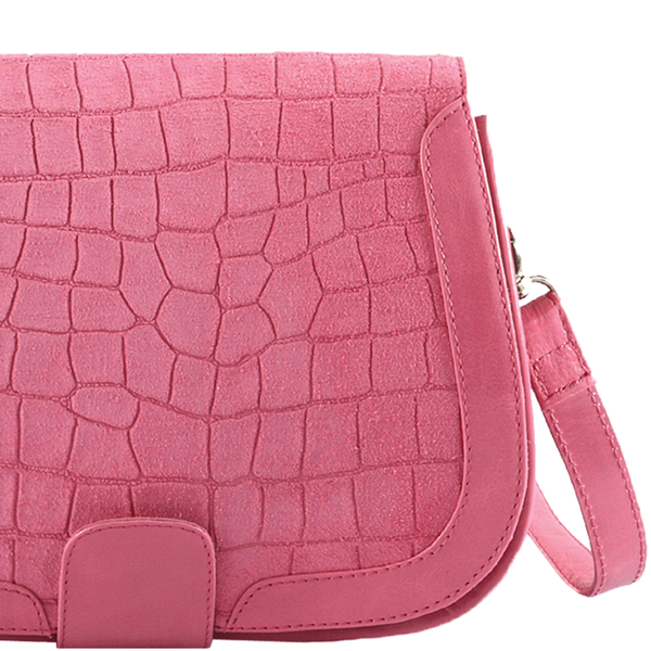 'BENAVILLE' - Pink Designer Leather Croc Suede Tab-over Crossbody Sling Bag