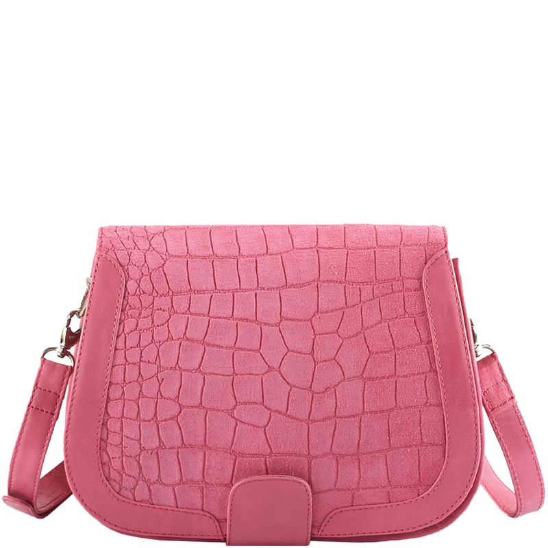 'BENAVILLE' - Pink Croc Suede Leather Tab Over Crossbody Sling Bag