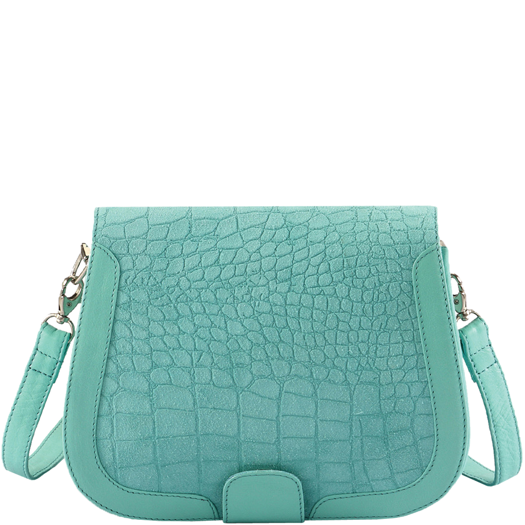 'BENAVILLE' - Turquoise Designer Leather Croc Suede Tab-over Crossbody Sling Bag