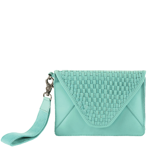 'C R E S C E N T' - Mint Green Leather Woven Clutch