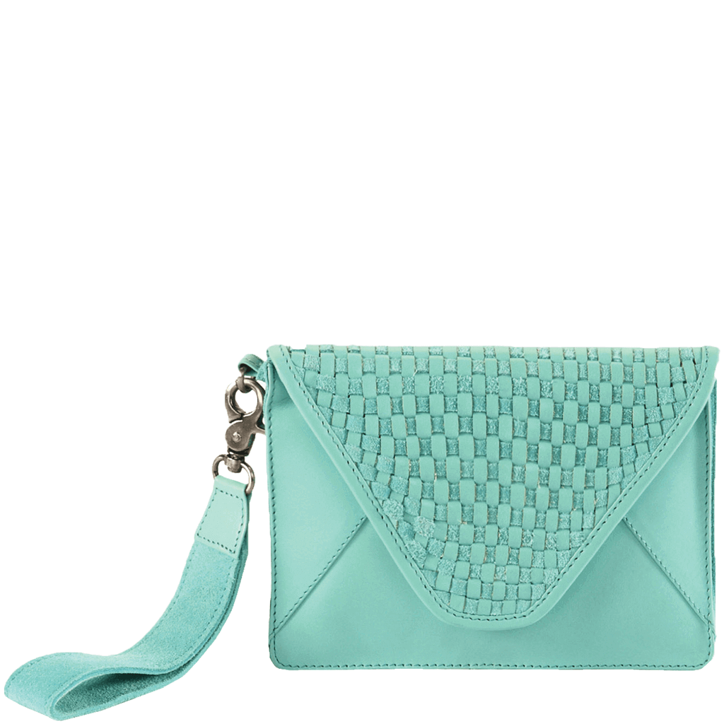 'CRESCENT' - Turquoise Designer Leather Flap-over Woven Clutch Bag