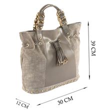 'WINDEMERE' - Grey Designer Leather Suede Crocodile Print Tote Bag