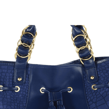 'WINDEMERE' - Navy Designer Leather Suede Crocodile Print Tote Bag