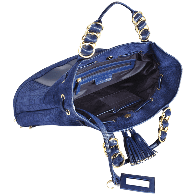 'WINDEMERE' Navy Designer Crocodile Printed Suede Leather Tote Bag