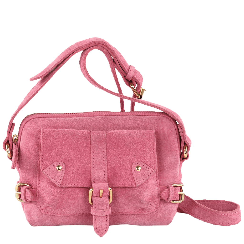 'SASHA' - Pink Designer Leather Suede Cross Body Shoulder Bag