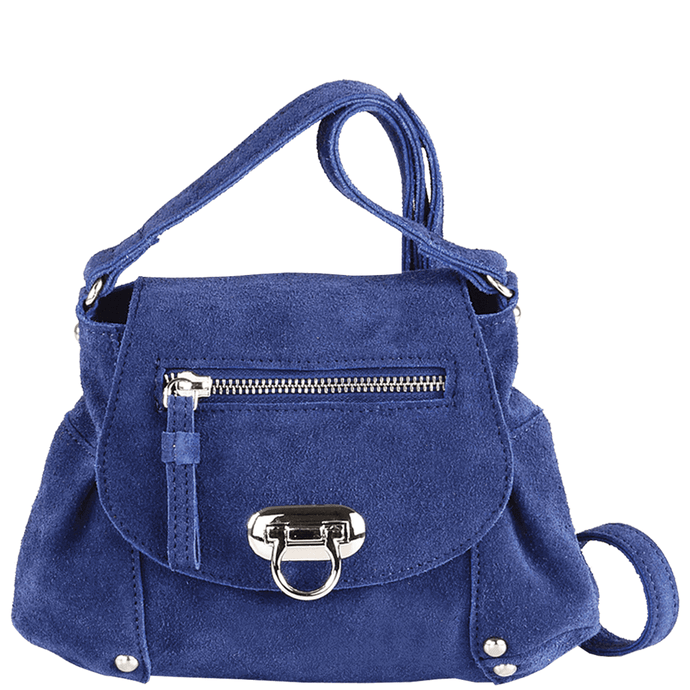 'CHESTER' - Navy Designer Leather Suede Mini Cross Body Bag
