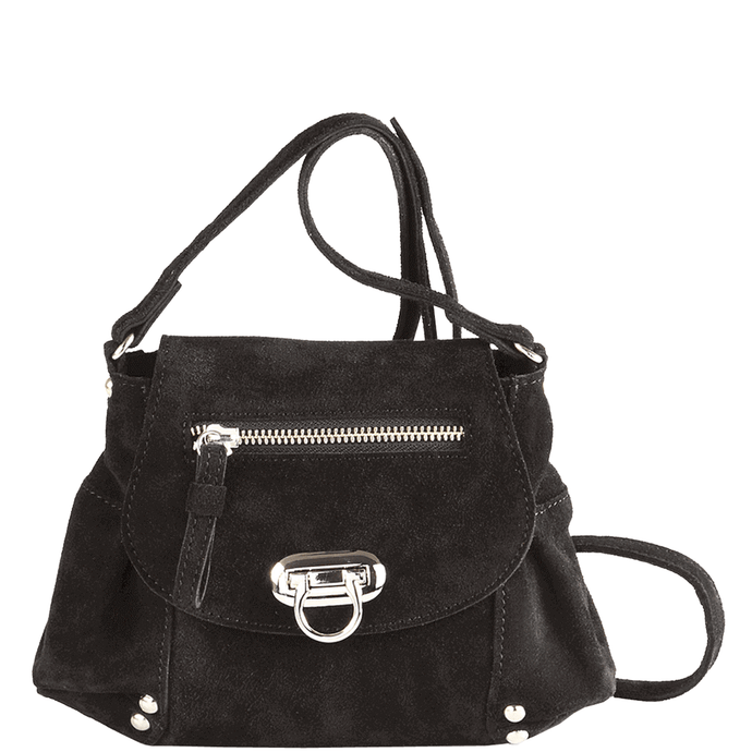 'CHESTER' - Black Designer Leather Suede Mini Cross Body Bag