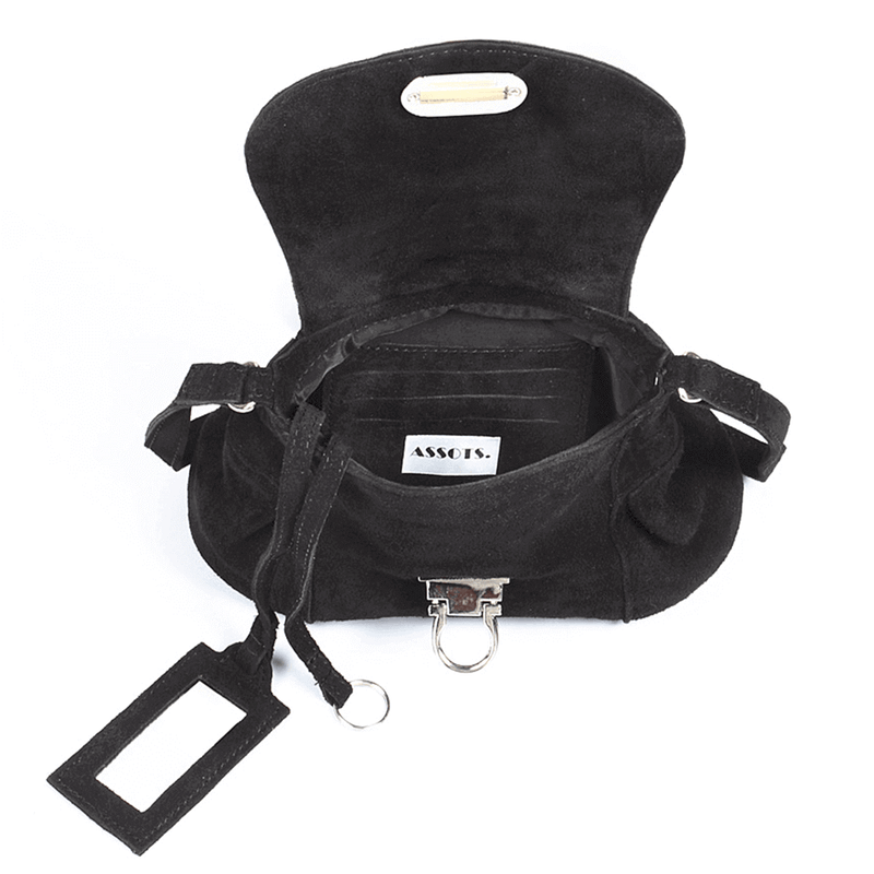 'CHESTER' Black Suede Leather Mini Crossbody Bag