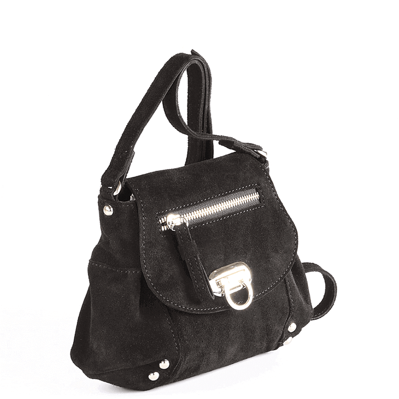 'CHESTER' - Black Designer Leather Suede Mini Crossbody Sling Bag