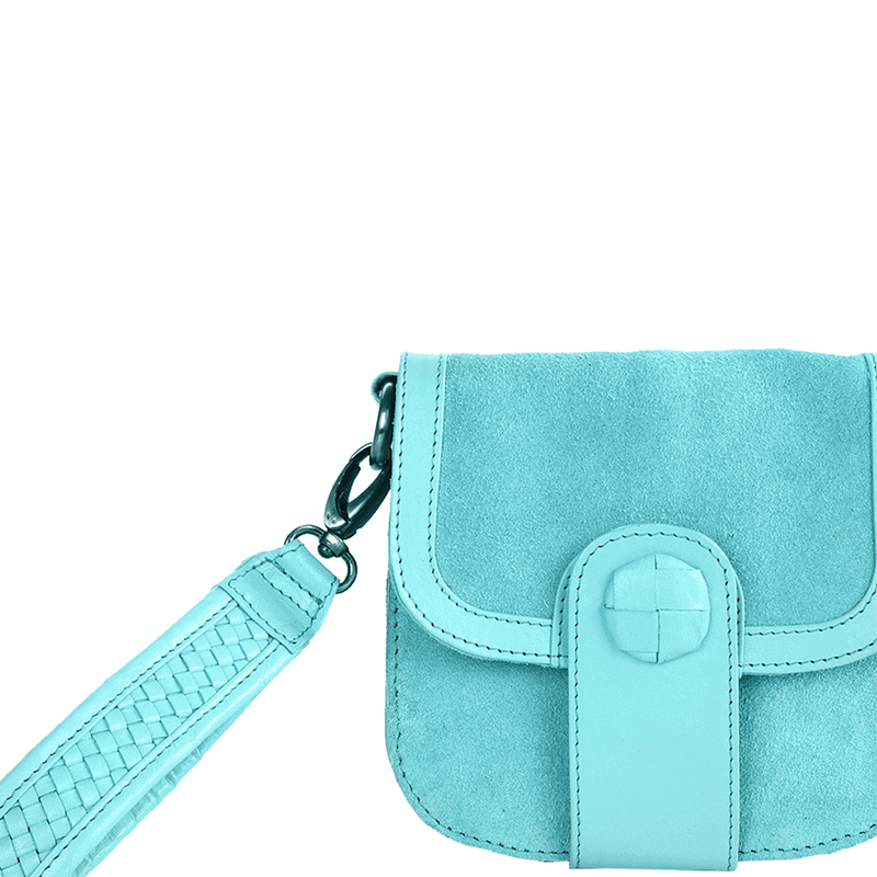'FLOYD' - Turquoise Suede Leather Tab-over Wristlet Bag