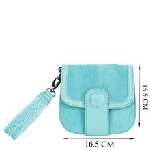 'FLOYD' - Turquoise Designer Leather Suede Tab-over Wristlet Bag