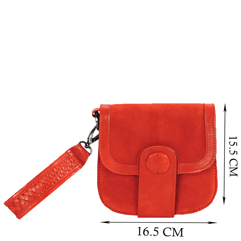 'FLOYD' Orange Suede Leather Tab-over Wristlet