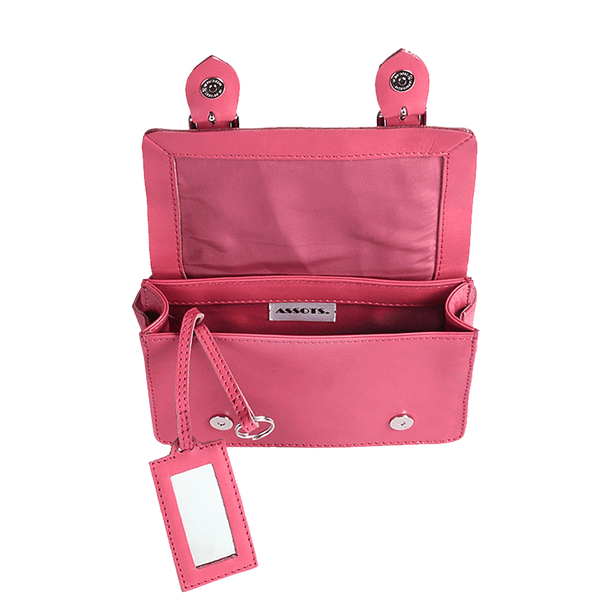 'CLARA' Mini Pink Designer Leather Flap-over Satchel