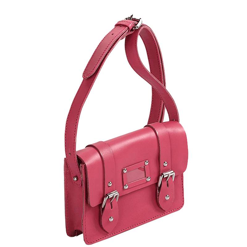 'CLARA' - Mini Pink Designer Leather Flap-over Satchel Bag