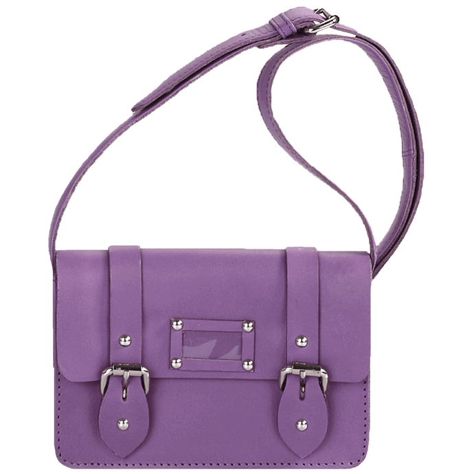 'CLARA' - Mini Purple Designer Leather Flap-over Satchel Bag
